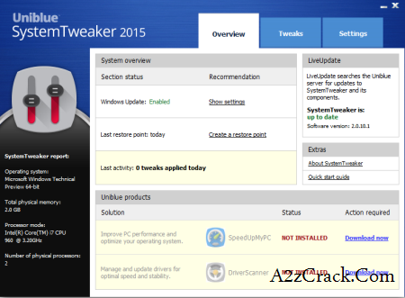Uniblue System Tweaker 2015 Serial Key